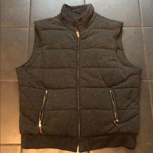 Men's Gray XL Zip Up Vest Bloomingdales Soft Puffy